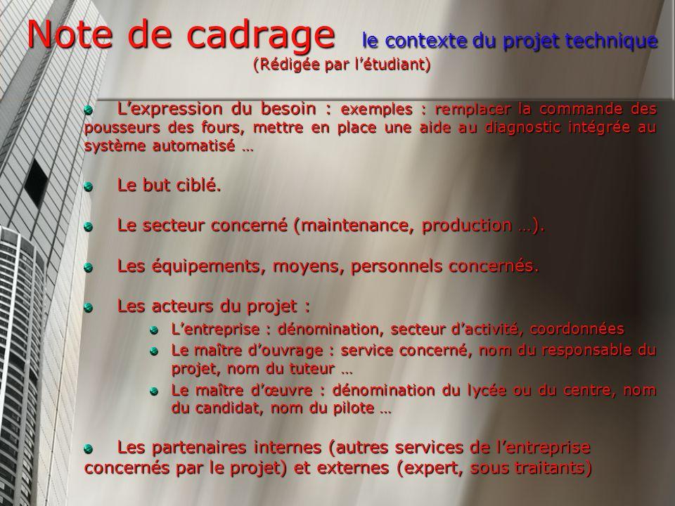 Note de cadrage le contexte du projet technique (Rédigée par l'étudiant)