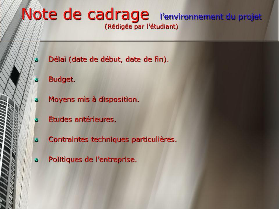 Note de cadrage l'environnement du projet (Rédigée par l'étudiant)