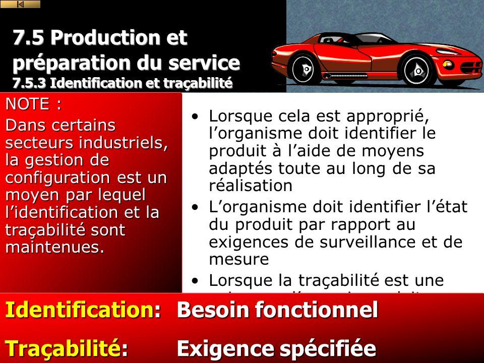 Identification: Besoin fonctionnel Traçabilité: Exigence spécifiée