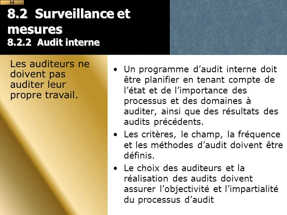 8.2 Surveillance et mesures 8.2.2 Audit interne