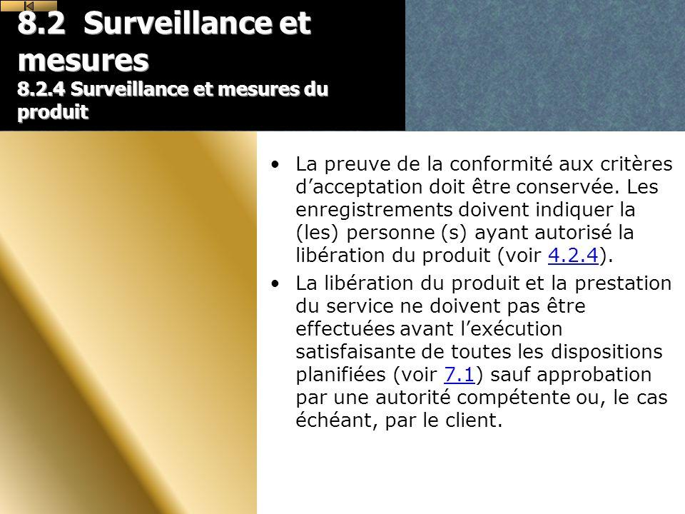8.2 Surveillance et mesures 8.2.4 Surveillance et mesures du produit