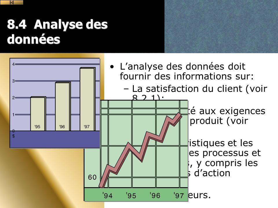 8.4 Analyse des données L'analyse des données doit fournir des informations sur: La satisfaction du client (voir 8.2.1);