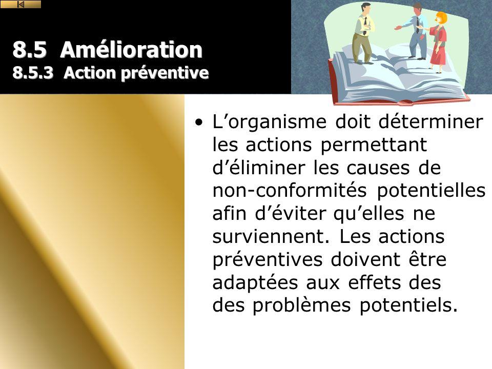 8.5 Amélioration 8.5.3 Action préventive