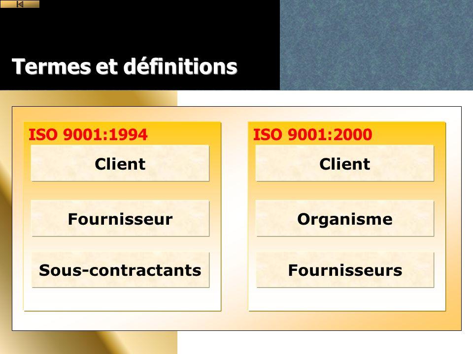 Termes et définitions ISO 9001:1994 ISO 9001:2000 Client Client