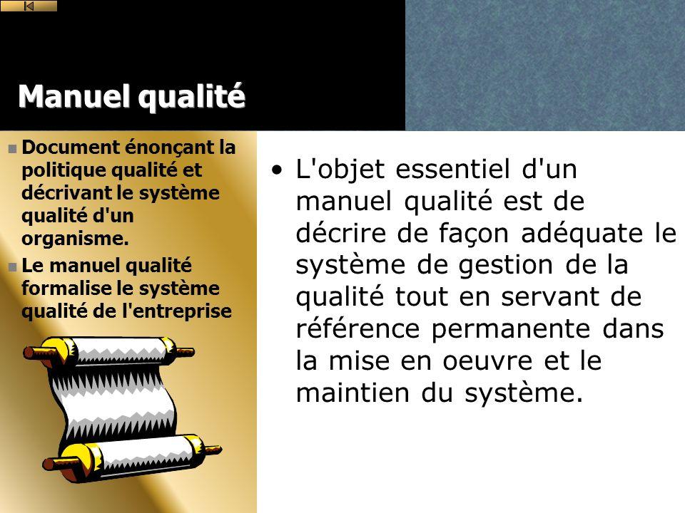 Manuel qualité Document énonçant la politique qualité et décrivant le système qualité d un organisme.
