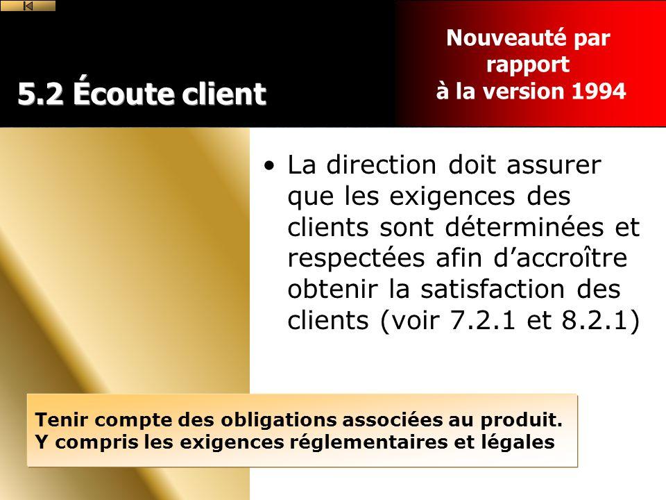 Nouveauté par rapport. à la version 1994. 5.2 Écoute client.