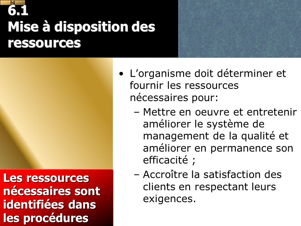 6.1 Mise à disposition des ressources