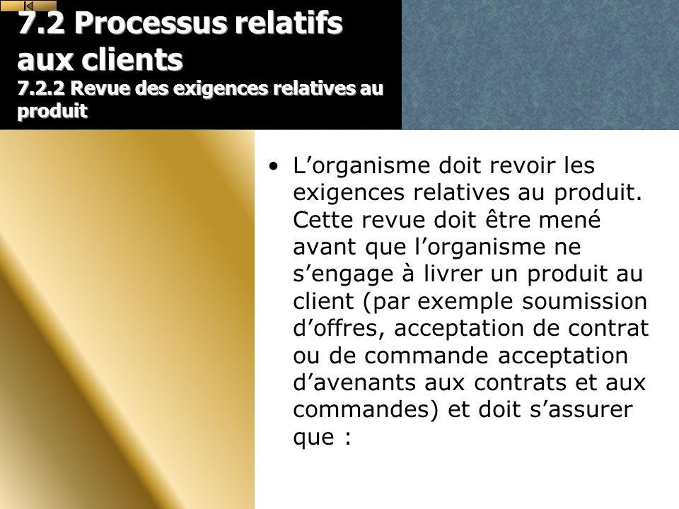 7. 2 Processus relatifs aux clients 7. 2