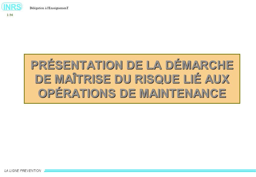 PRÉSENTATION DE LA DÉMARCHE DE MAÎTRISE DU RISQUE LIÉ AUX OPÉRATIONS DE MAINTENANCE