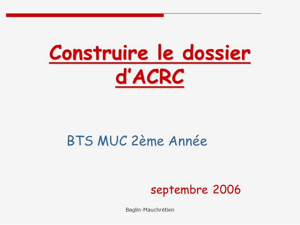 Construire le dossier d'ACRC