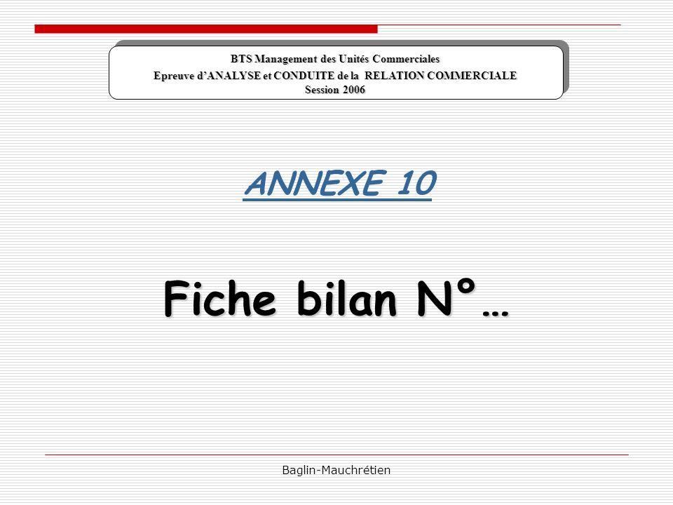 Fiche bilan N°… ANNEXE 10 BTS Management des Unités Commerciales
