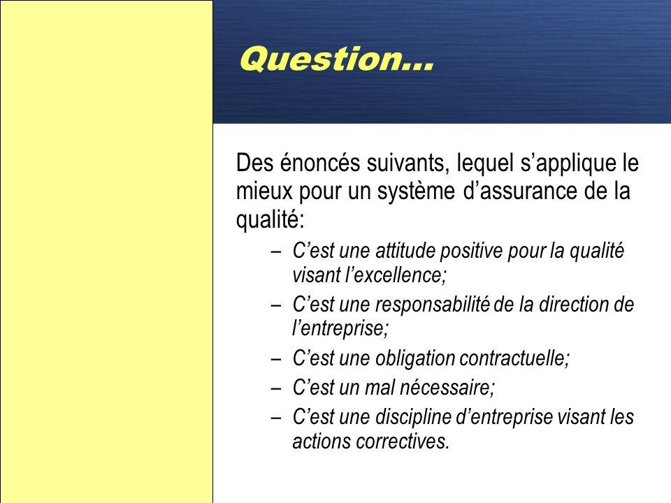 Question… Des énoncés suivants, lequel s'applique le mieux pour un système d'assurance de la qualité: