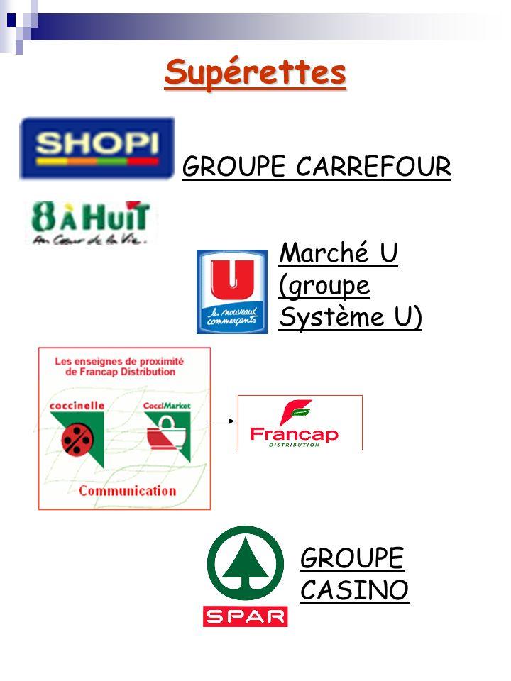 Supérettes GROUPE CARREFOUR Marché U (groupe Système U) GROUPE CASINO