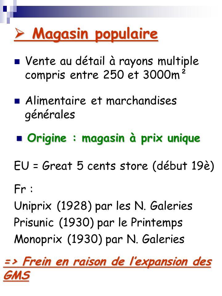 Magasin populaire Vente au détail à rayons multiple compris entre 250 et 3000m². Alimentaire et marchandises générales.