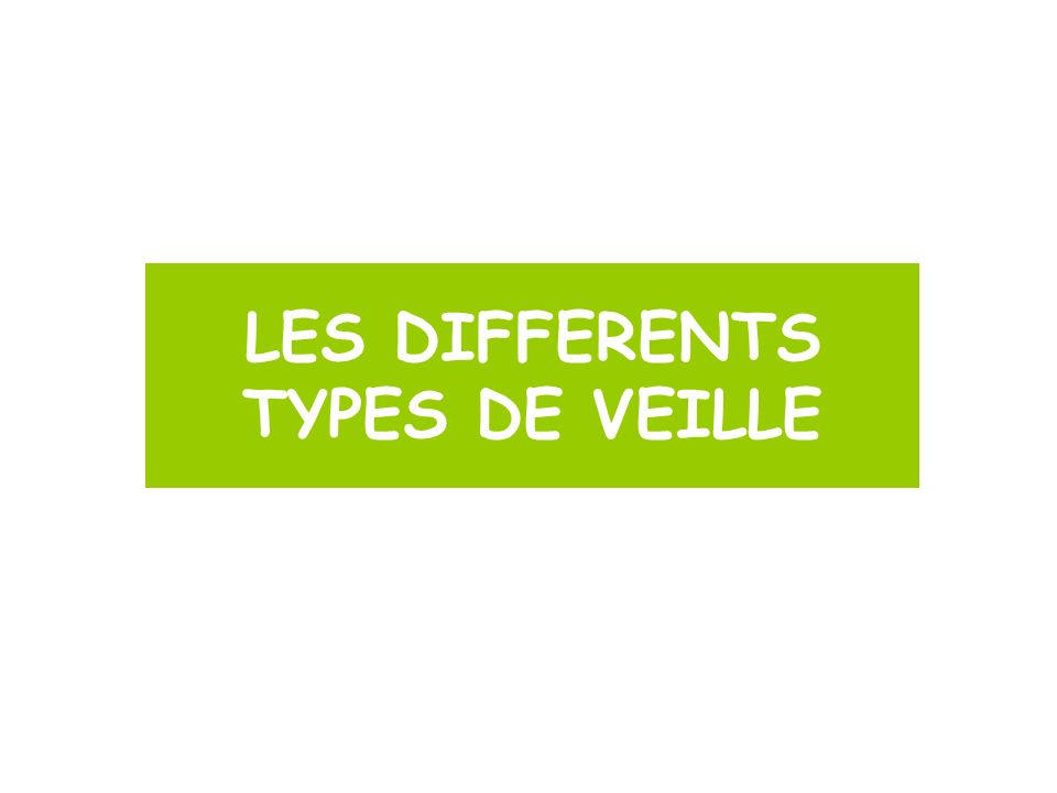 LES DIFFERENTS TYPES DE VEILLE
