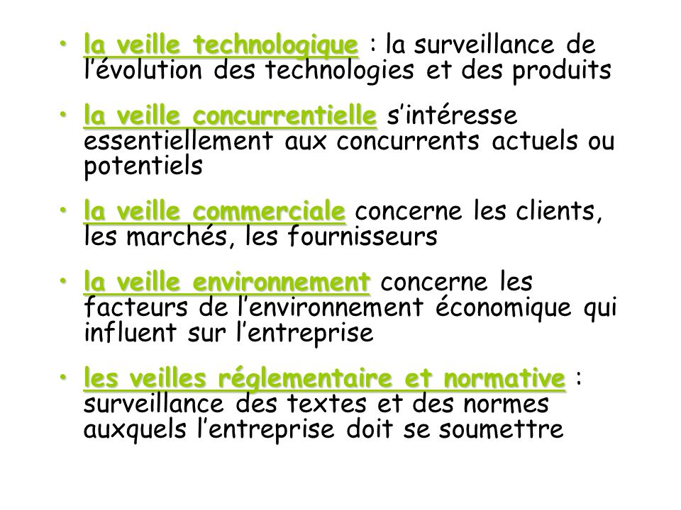 la veille technologique : la surveillance de l'évolution des technologies et des produits
