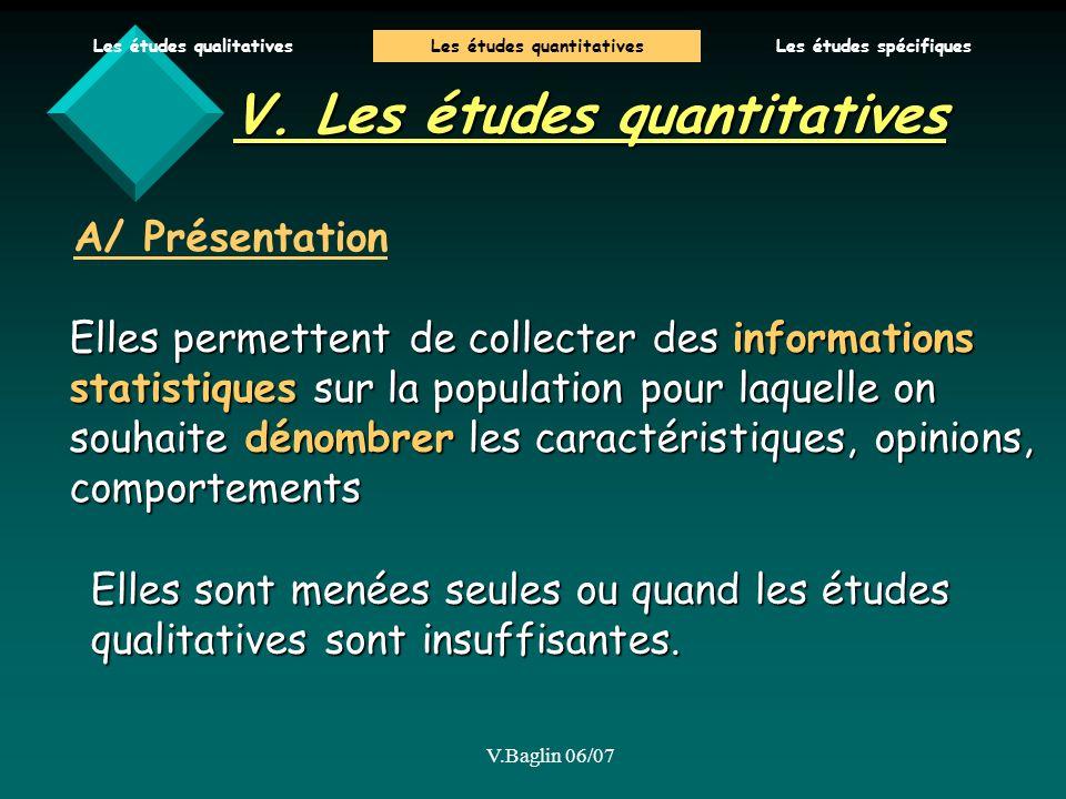 V. Les études quantitatives