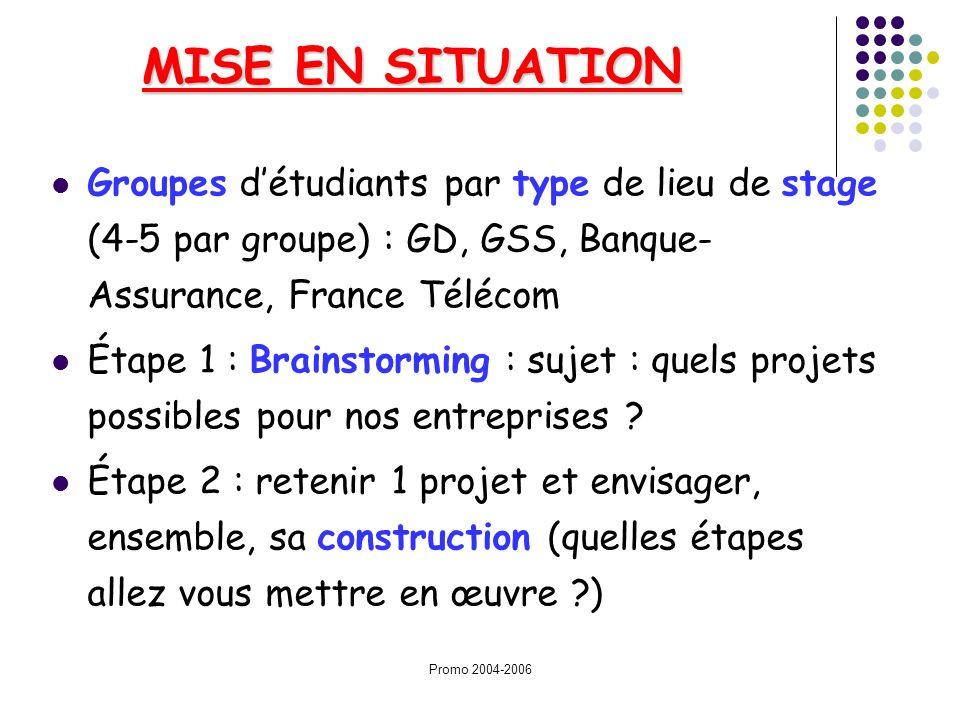 MISE EN SITUATION Groupes d'étudiants par type de lieu de stage (4-5 par groupe) : GD, GSS, Banque-Assurance, France Télécom.