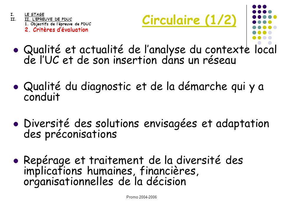 LE STAGE II. L'EPREUVE DE PDUC. 1. Objectifs de l'épreuve de PDUC. 2. Critères d'évaluation. Circulaire (1/2)