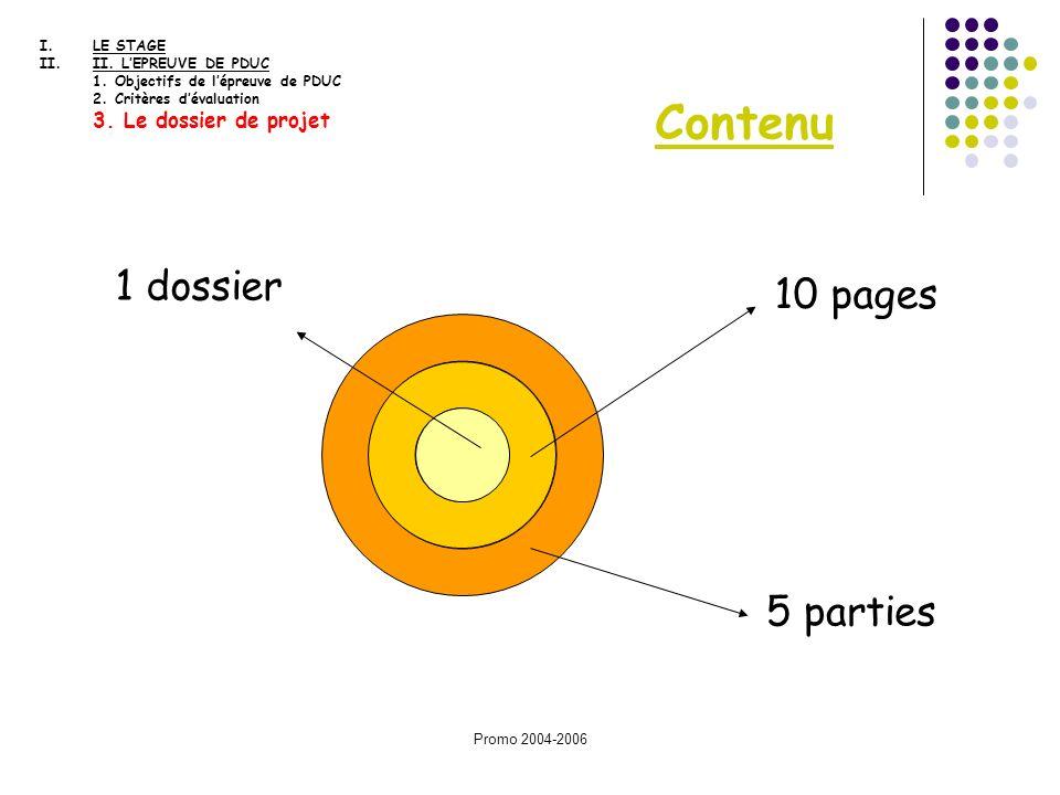 Contenu 1 dossier 10 pages 5 parties 3. Le dossier de projet LE STAGE