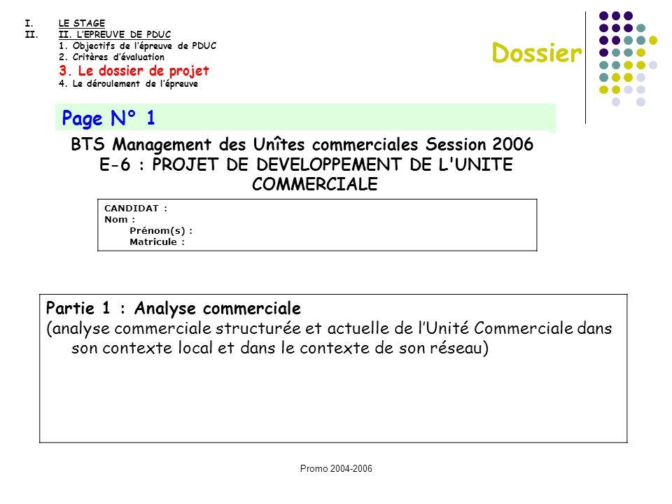 E-6 : PROJET DE DEVELOPPEMENT DE L UNITE COMMERCIALE