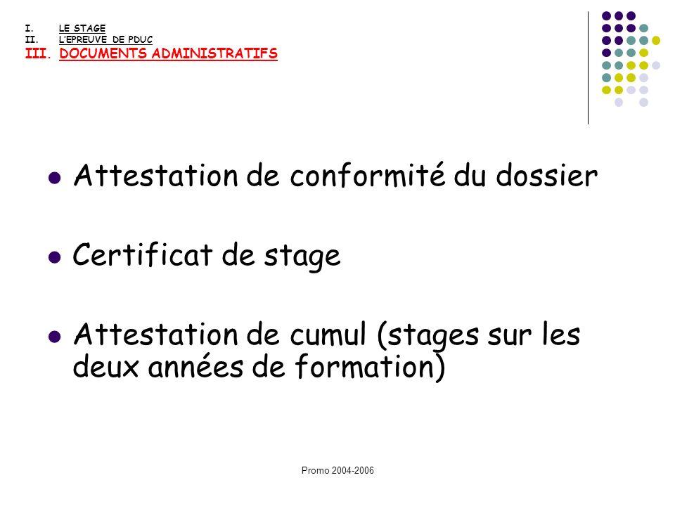 Attestation de conformité du dossier Certificat de stage