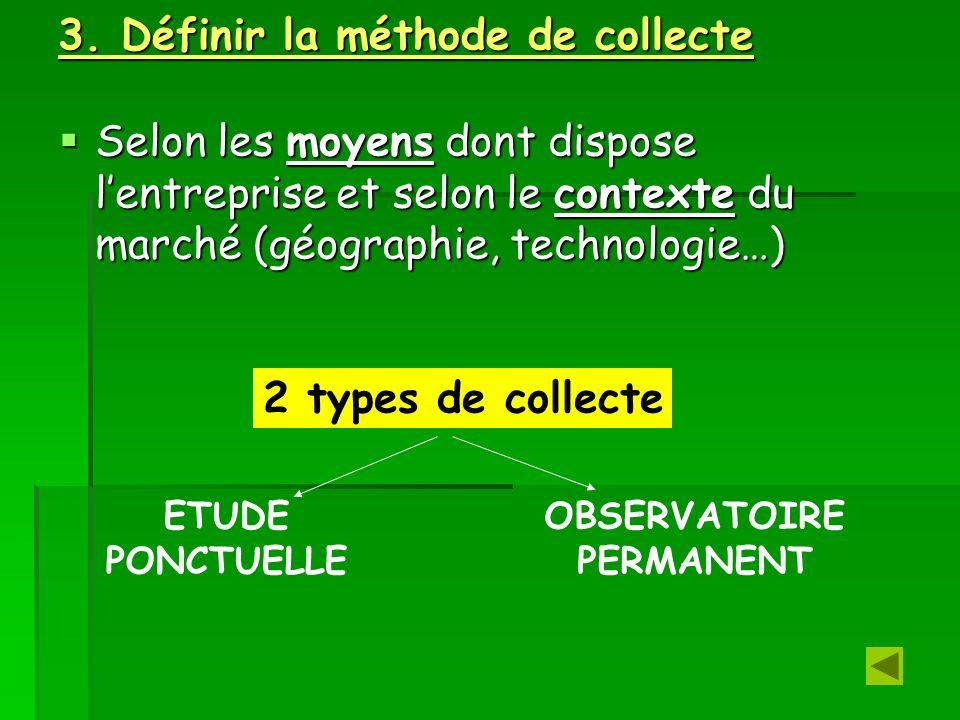 3. Définir la méthode de collecte