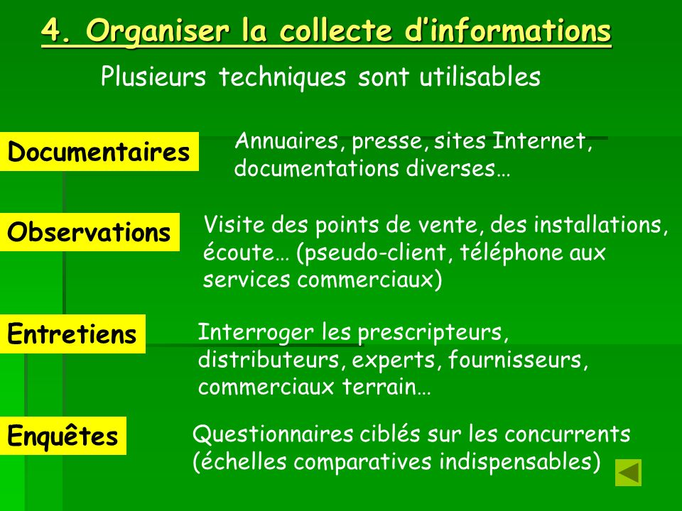 4. Organiser la collecte d'informations