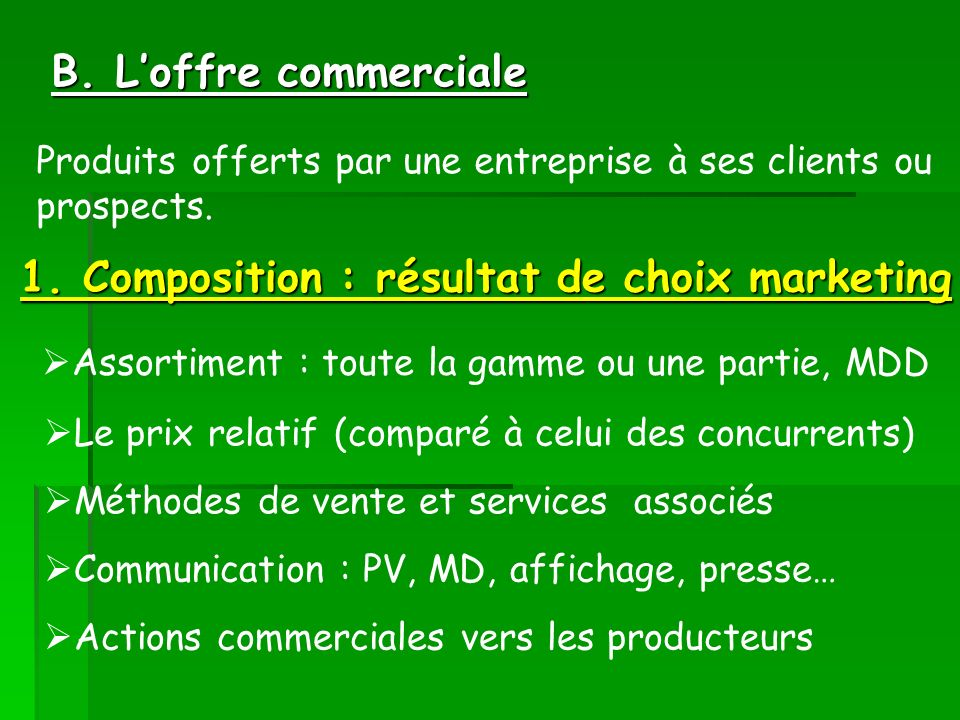 1. Composition : résultat de choix marketing