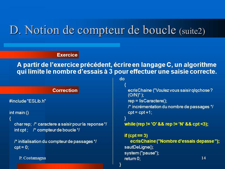 D. Notion de compteur de boucle (suite2)