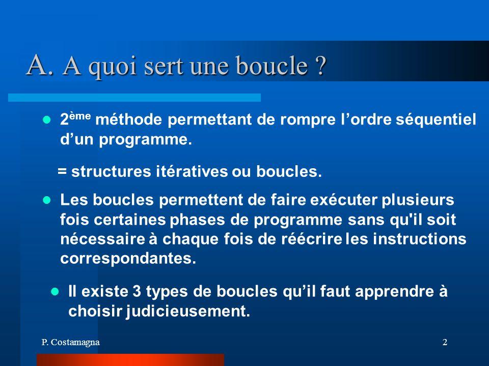 A. A quoi sert une boucle = structures itératives ou boucles.