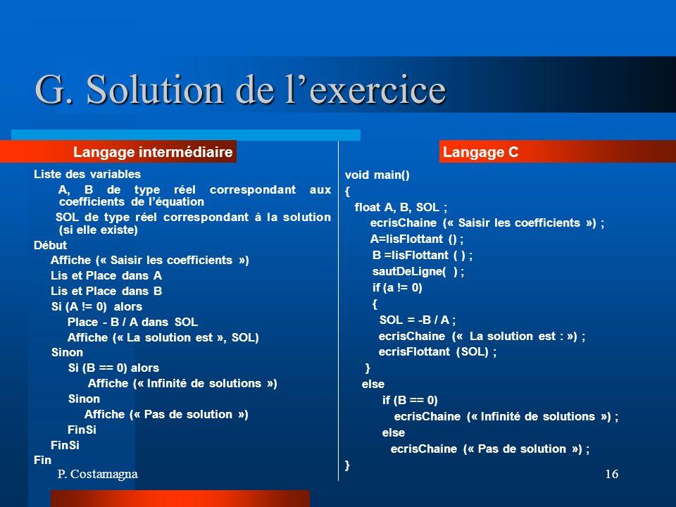 G. Solution de l'exercice