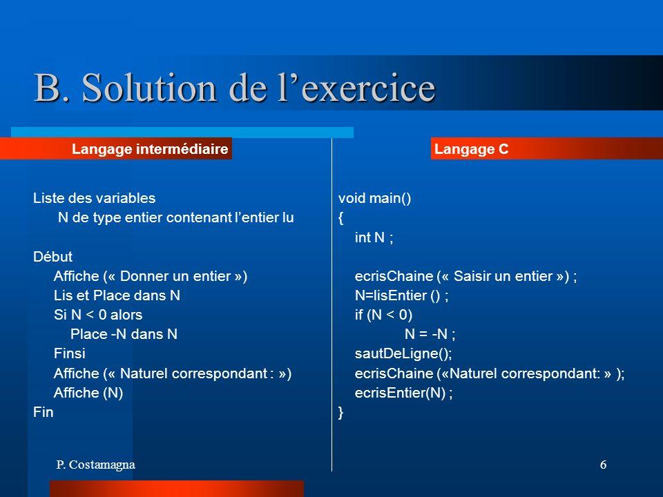 B. Solution de l'exercice