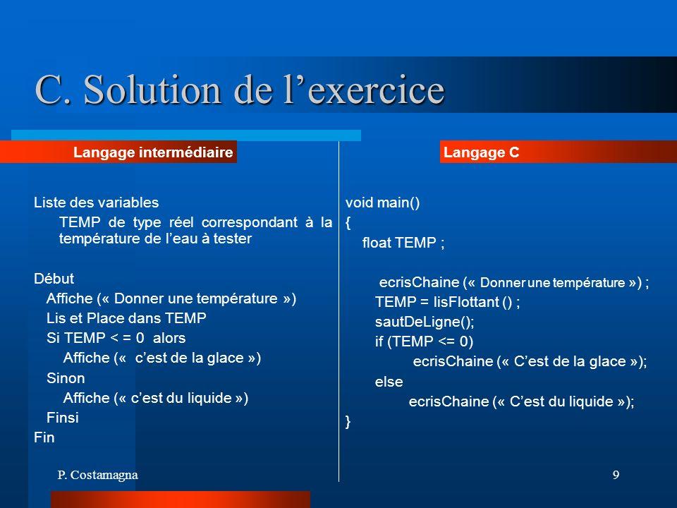 C. Solution de l'exercice
