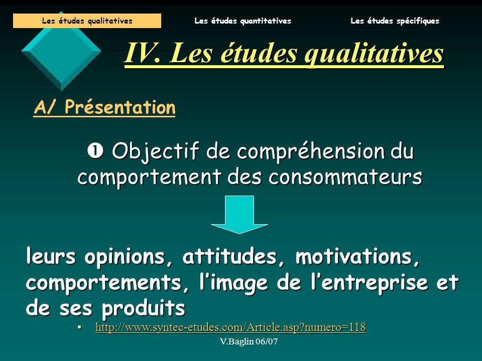 IV. Les études qualitatives