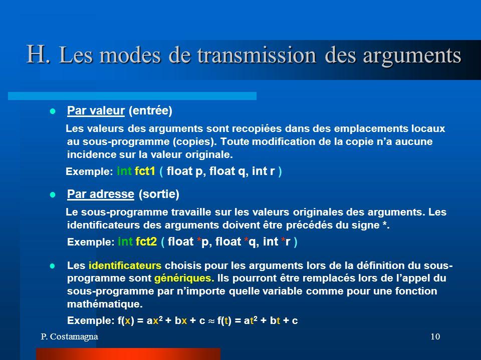 H. Les modes de transmission des arguments
