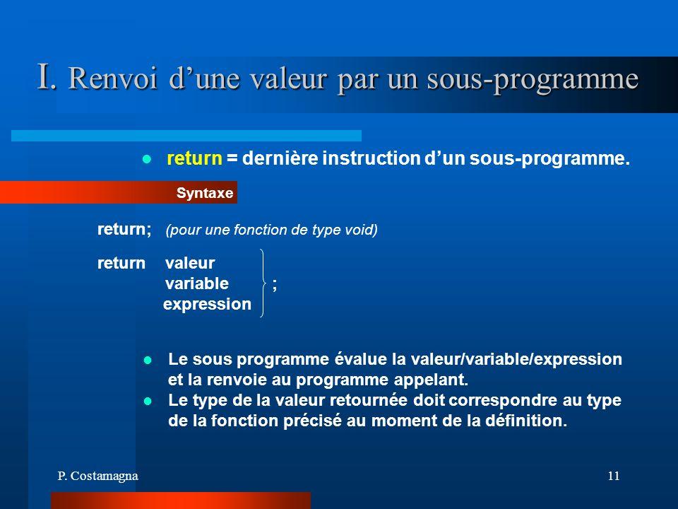 I. Renvoi d'une valeur par un sous-programme