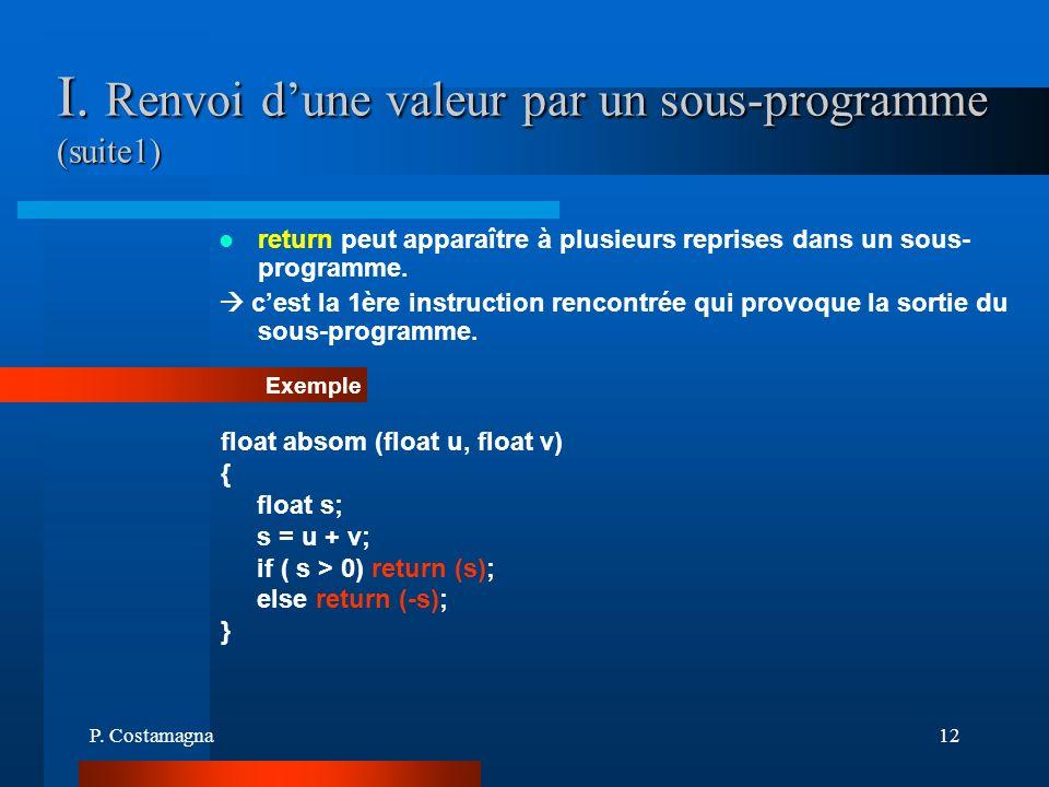 I. Renvoi d'une valeur par un sous-programme (suite1)