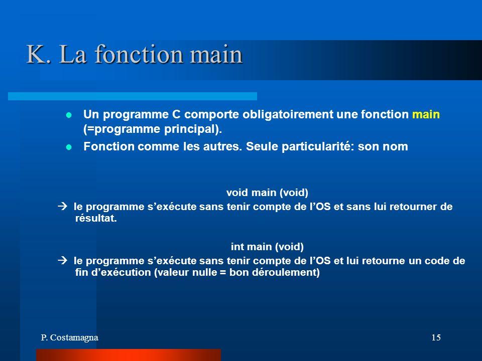 K. La fonction main Un programme C comporte obligatoirement une fonction main (=programme principal).
