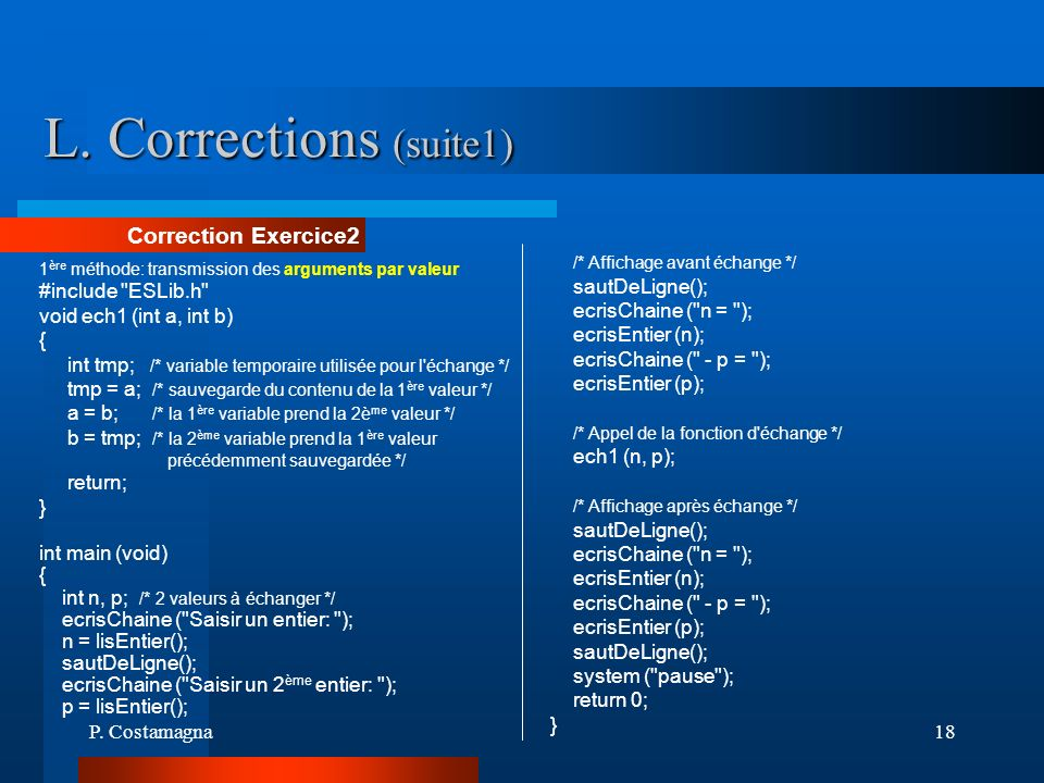 L. Corrections (suite1) Correction Exercice2