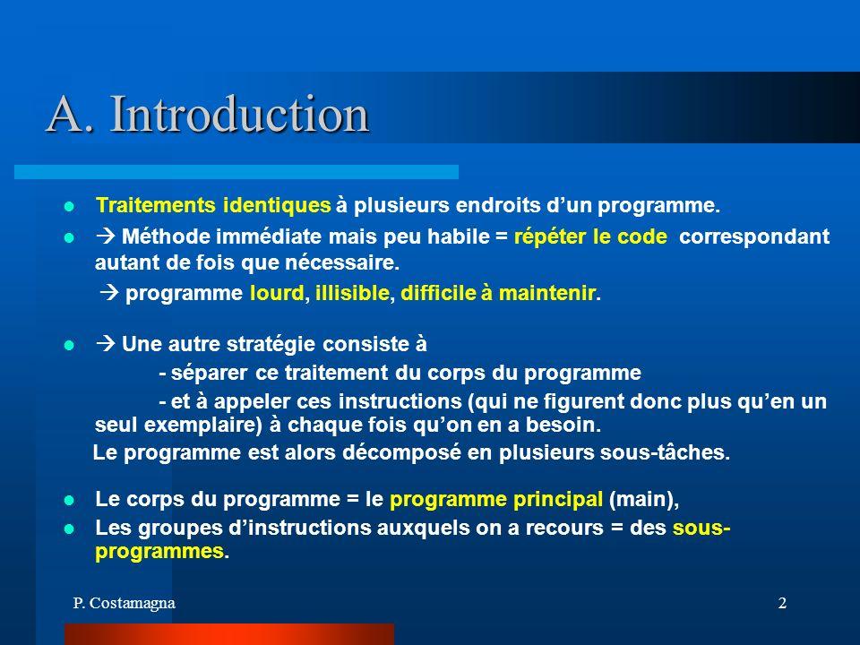 A. Introduction Traitements identiques à plusieurs endroits d'un programme.