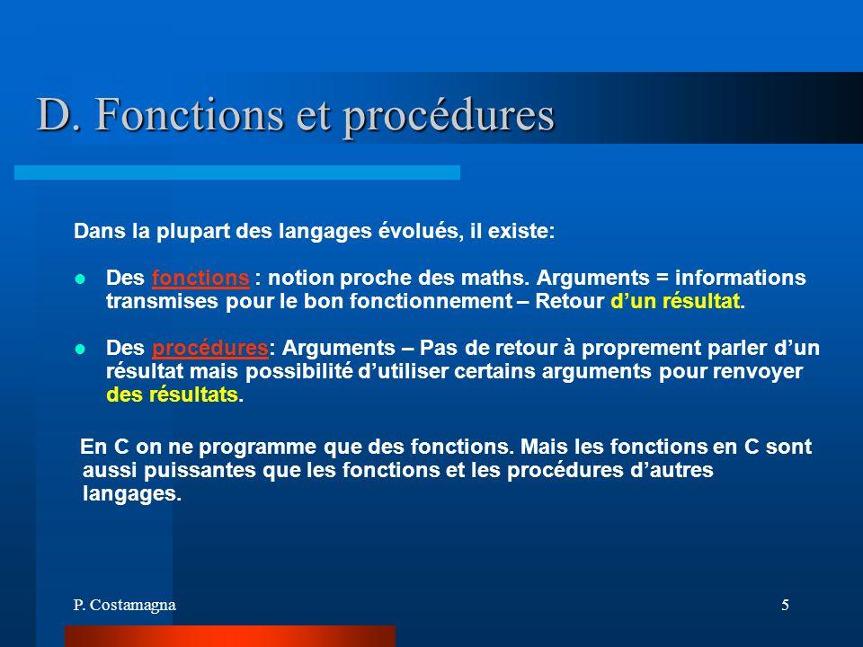 D. Fonctions et procédures