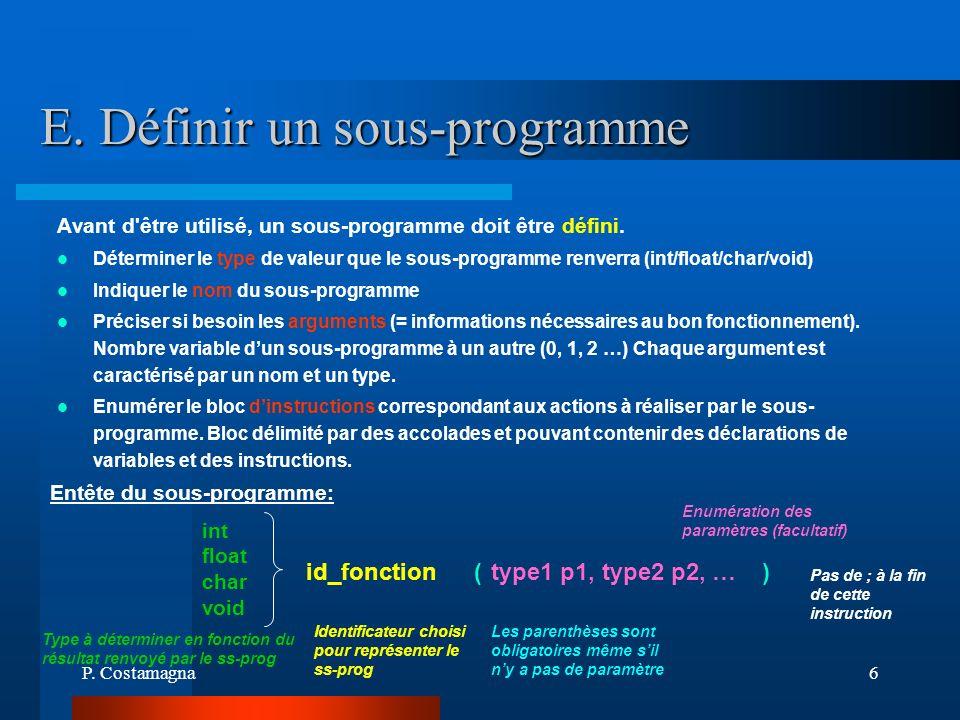 E. Définir un sous-programme