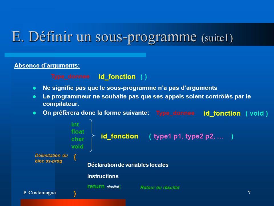 E. Définir un sous-programme (suite1)