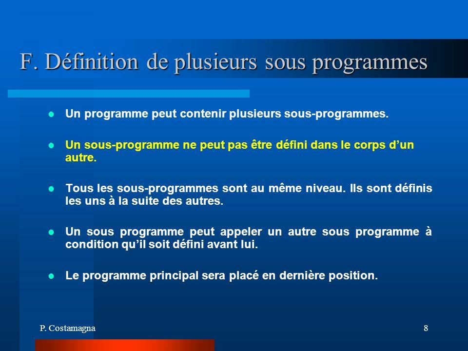 F. Définition de plusieurs sous programmes