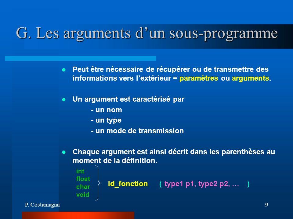 G. Les arguments d'un sous-programme