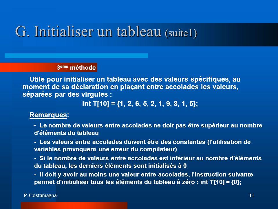 G. Initialiser un tableau (suite1)