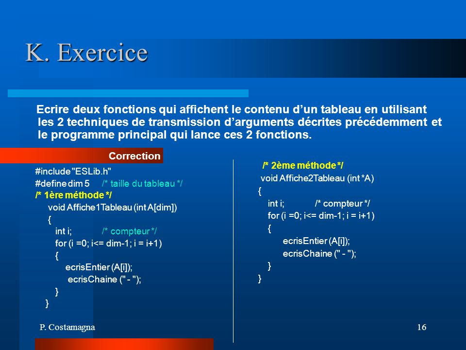K. Exercice