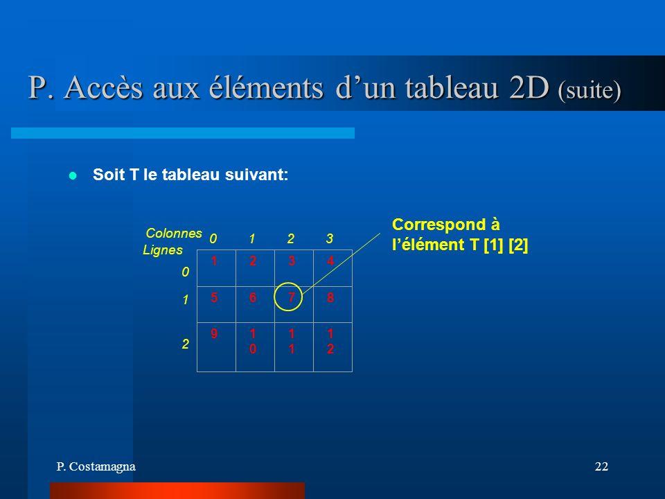 P. Accès aux éléments d'un tableau 2D (suite)