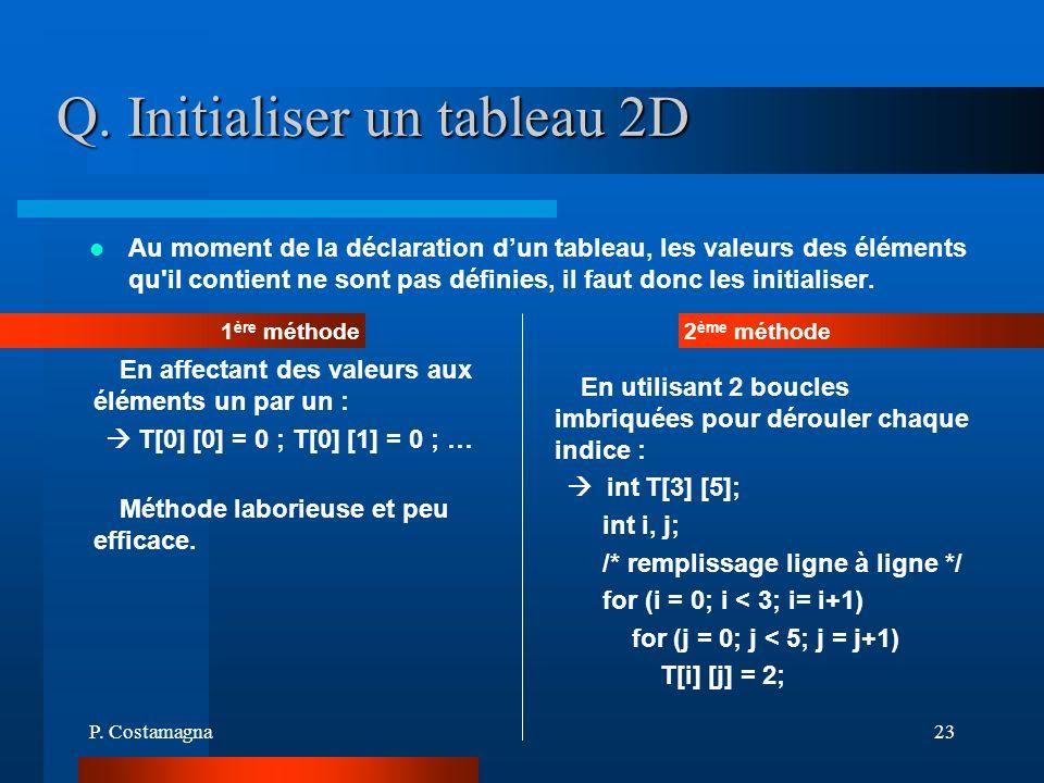 Q. Initialiser un tableau 2D
